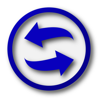 Swap icon. Blue internet button on white background.