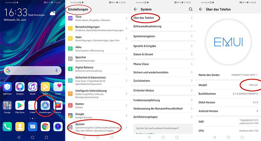 Abfrage Modellnummer Huawei Handy über Systemeinstellungen im Gerät